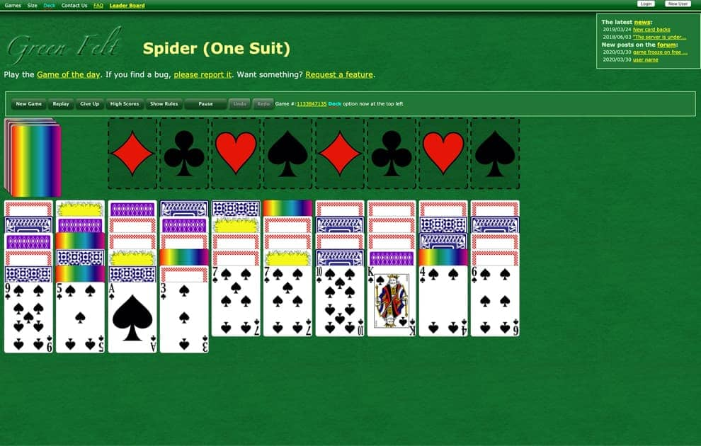Green Felt freecell screenshot