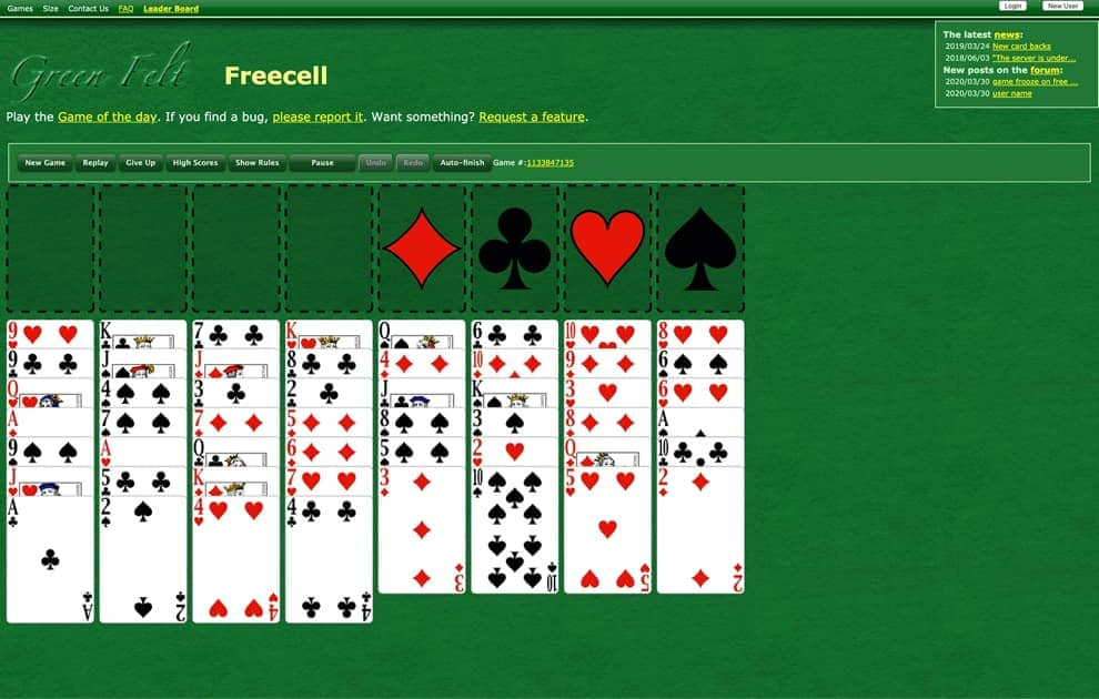 solitaire Green Felt solitaire screenshot