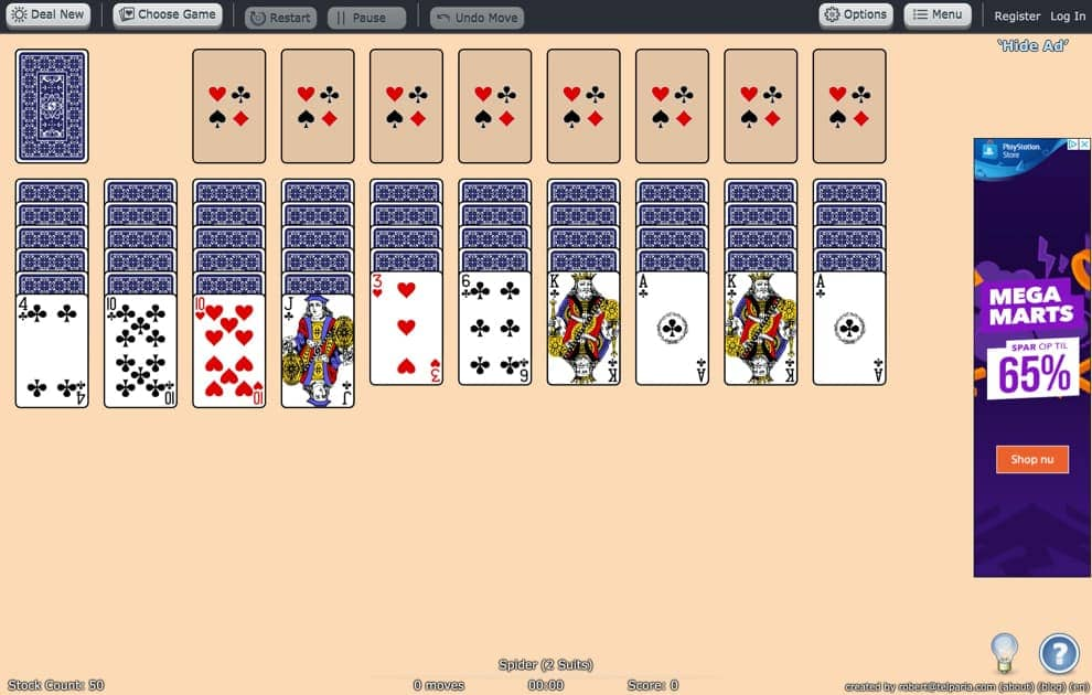 worldofsolitaire solitaire spider alternative